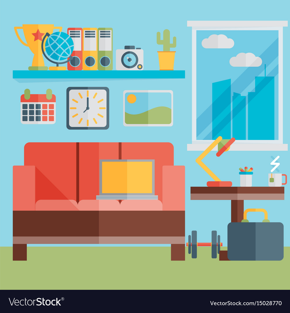 Flat design of modern home office interior with