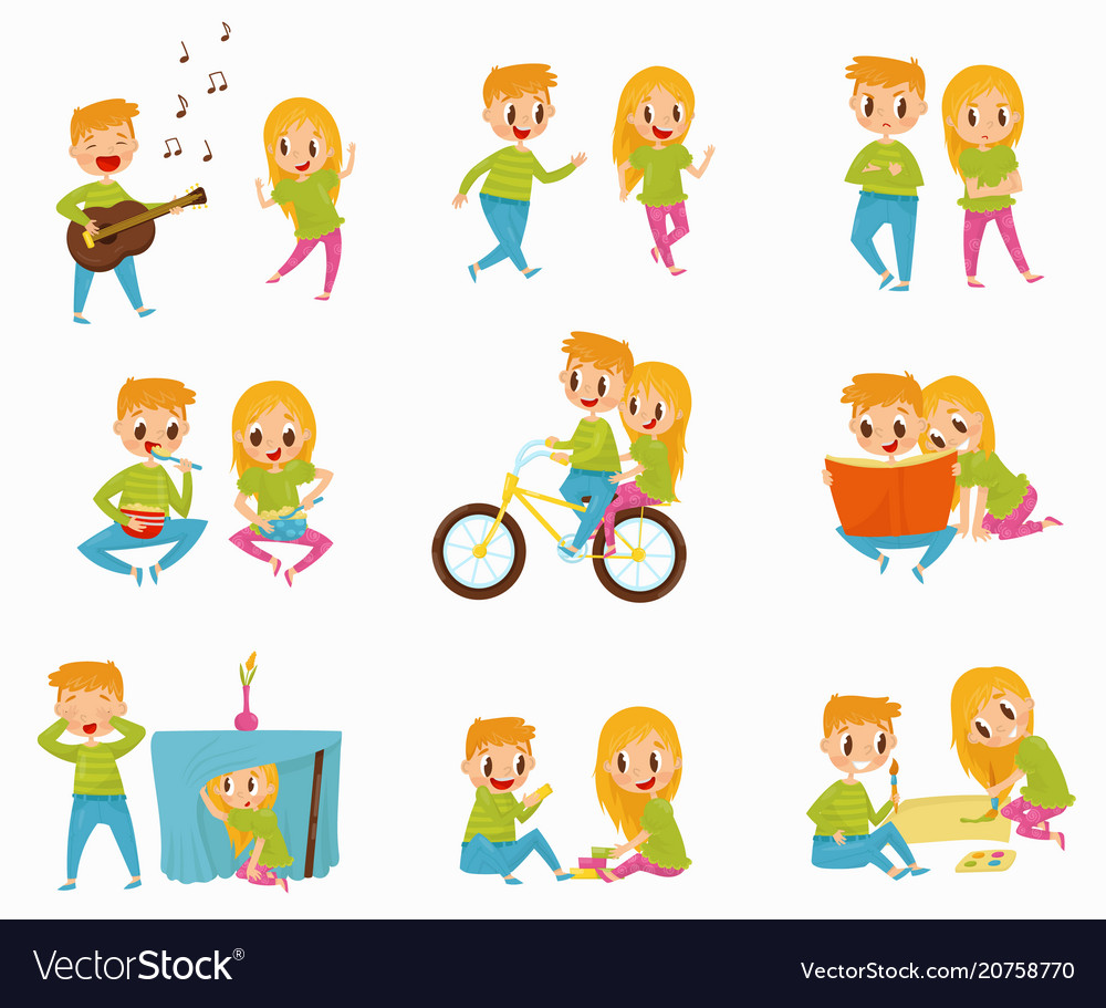 Flat set with little boy and girl in vector image