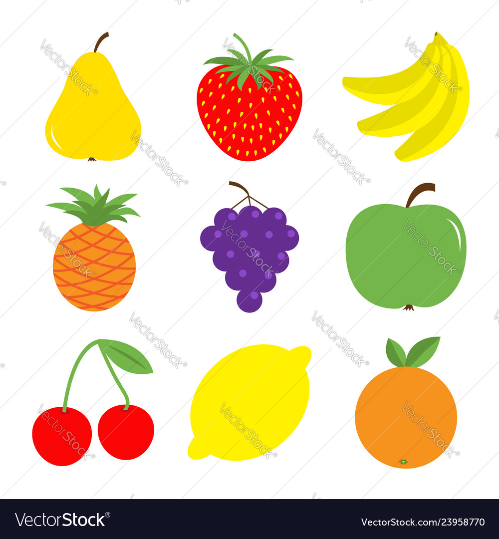 Fruit berry icon set pear strawberry banana