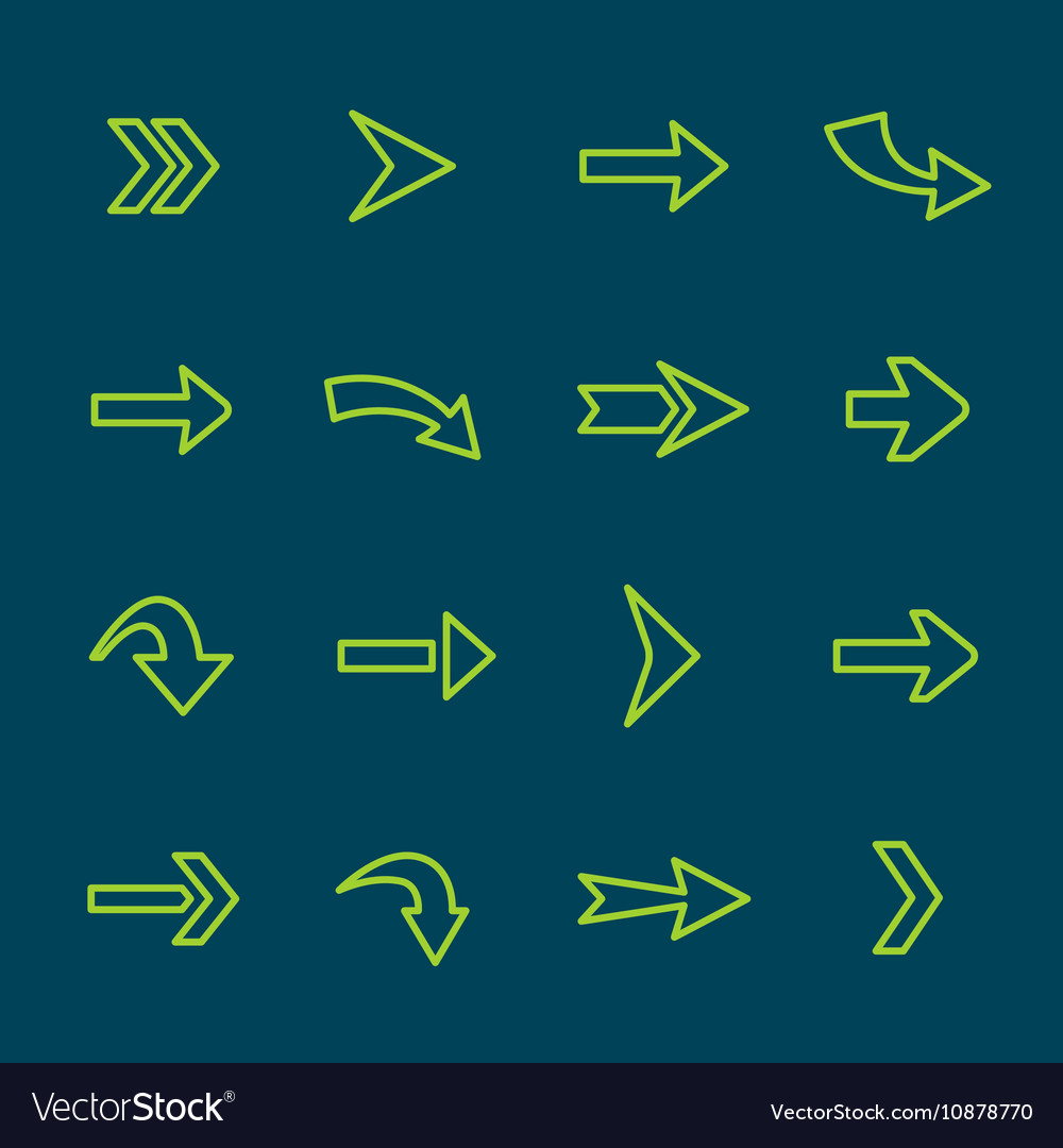 Green arrow signs lines icon set