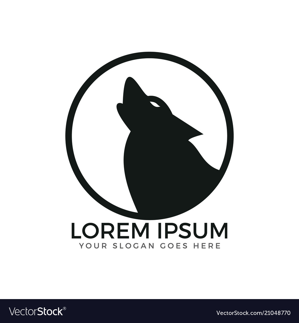 Howling wolf circle shaped logo design