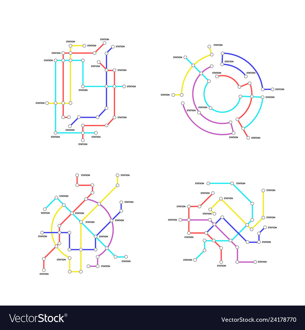 Subway Map Sign.Metro Map Signs Color Thin Line Icon Set