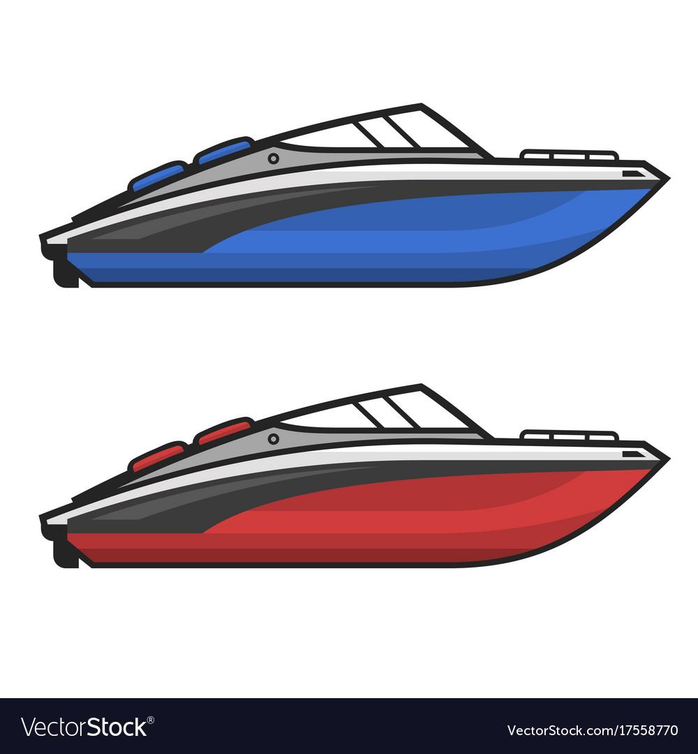 Motor speed boat icon set