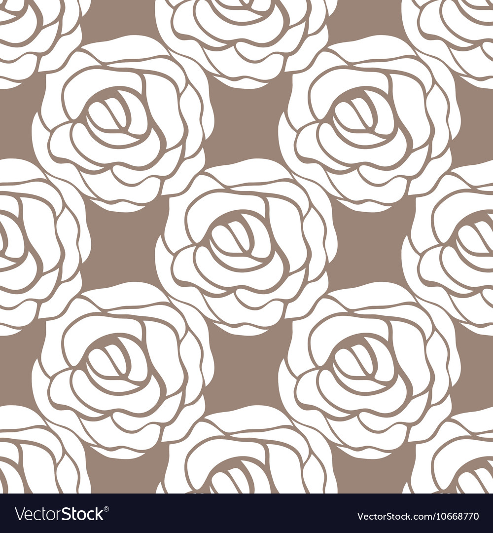 Seamless pattern with roses contours