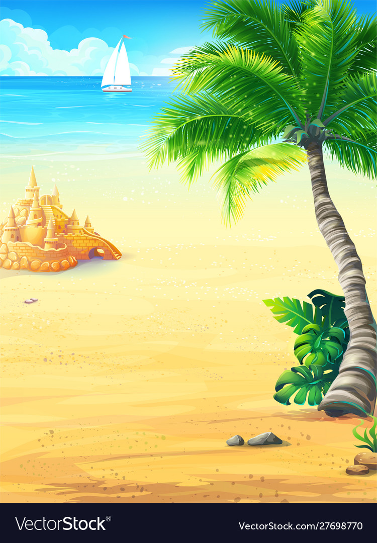 Summer vacation with sun sea sky palm trees