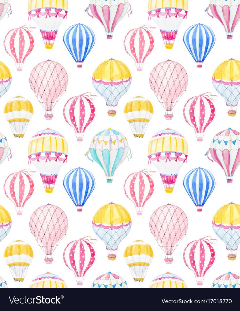 Watercolor air baloon pattern vector image
