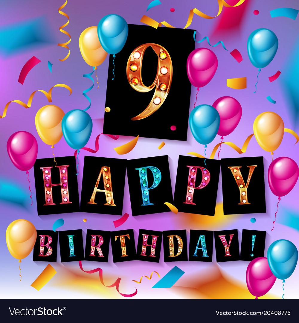 9th birthday celebration greeting card design vector image