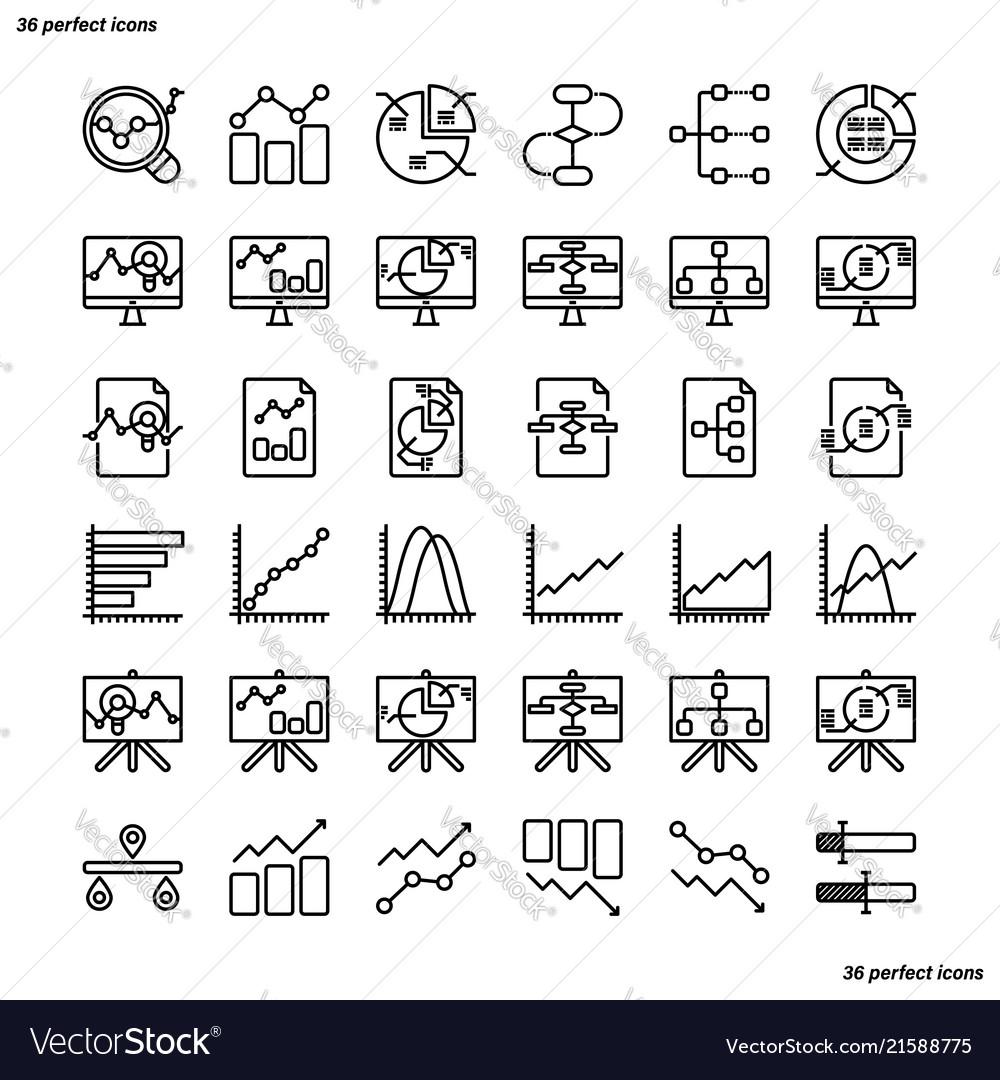 Analytics outline icons perfect pixel