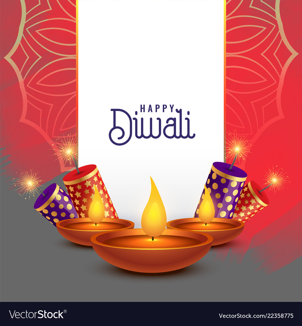 beautiful diwali card design with crackers vector image