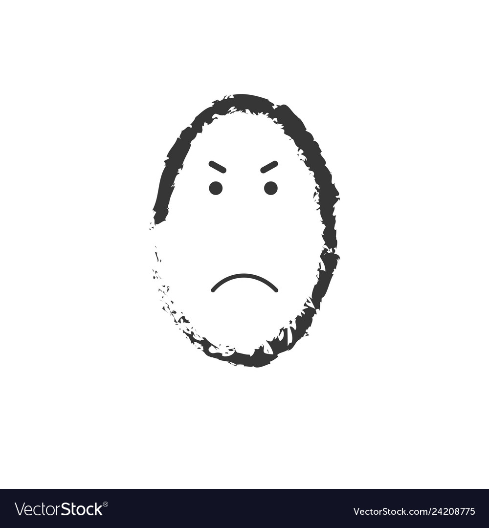 Black and white angry emoticon drawing