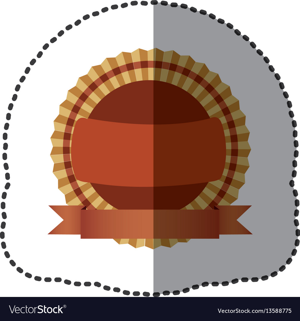 Brown round emblem with ribbon icon