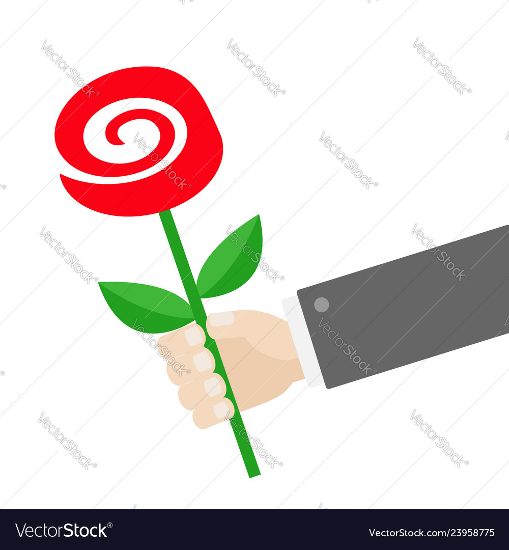 Businessman hand holding red rose flower giving