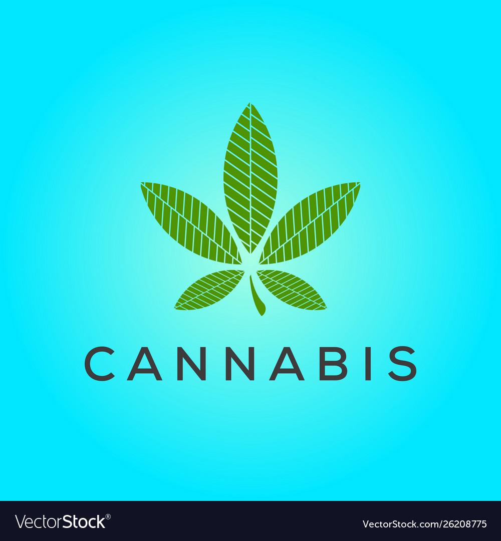 Cannabis leaf line logo design inspiration