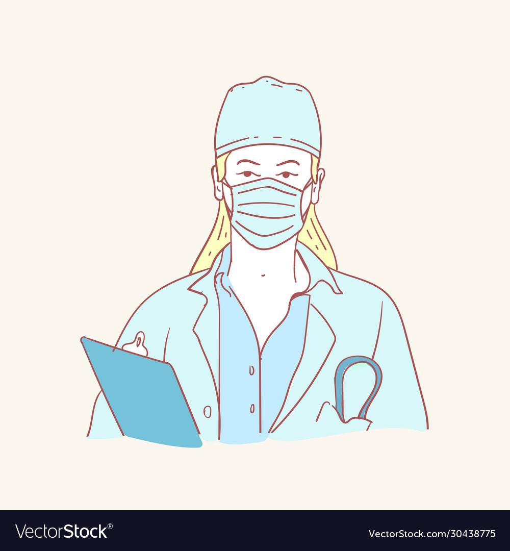 Corona virus protection mask doctor hand drawn