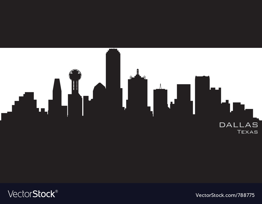 Dallas texas skyline detailed silhouette