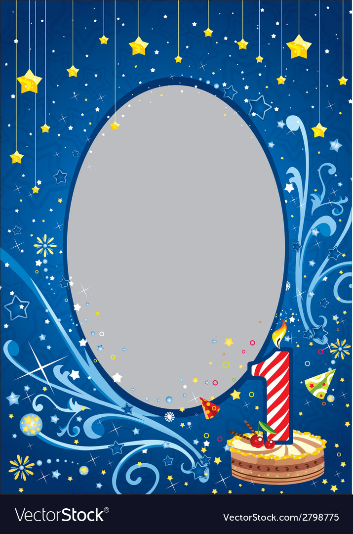 First birthday frame Royalty Free Vector Image