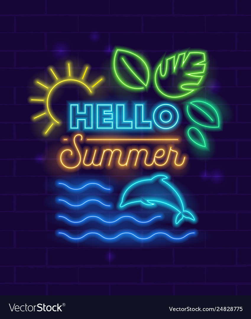 Hello summer banner with neon style glowing