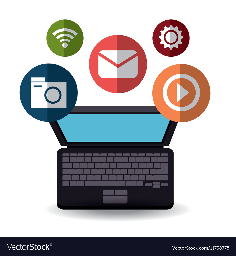 Laptop technology social media icons vector image