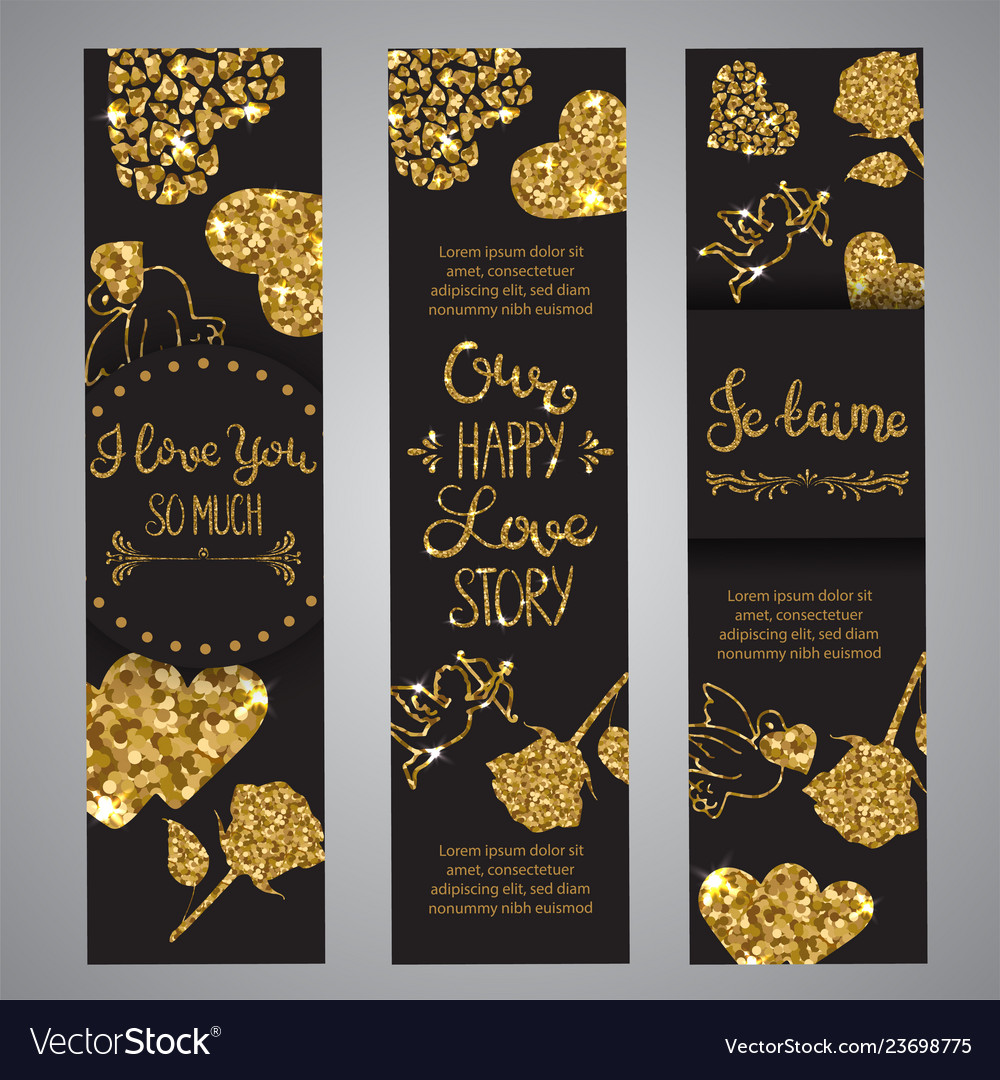 Love text on set of banners romantic lettering