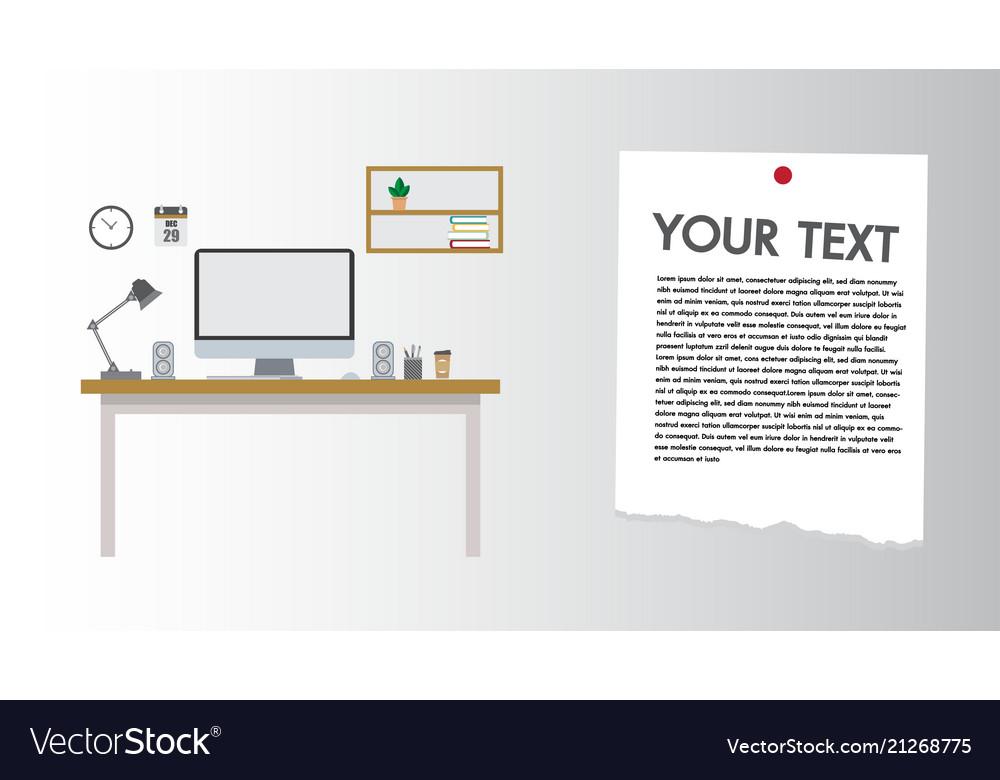 Modern desk flat design computer set workplace