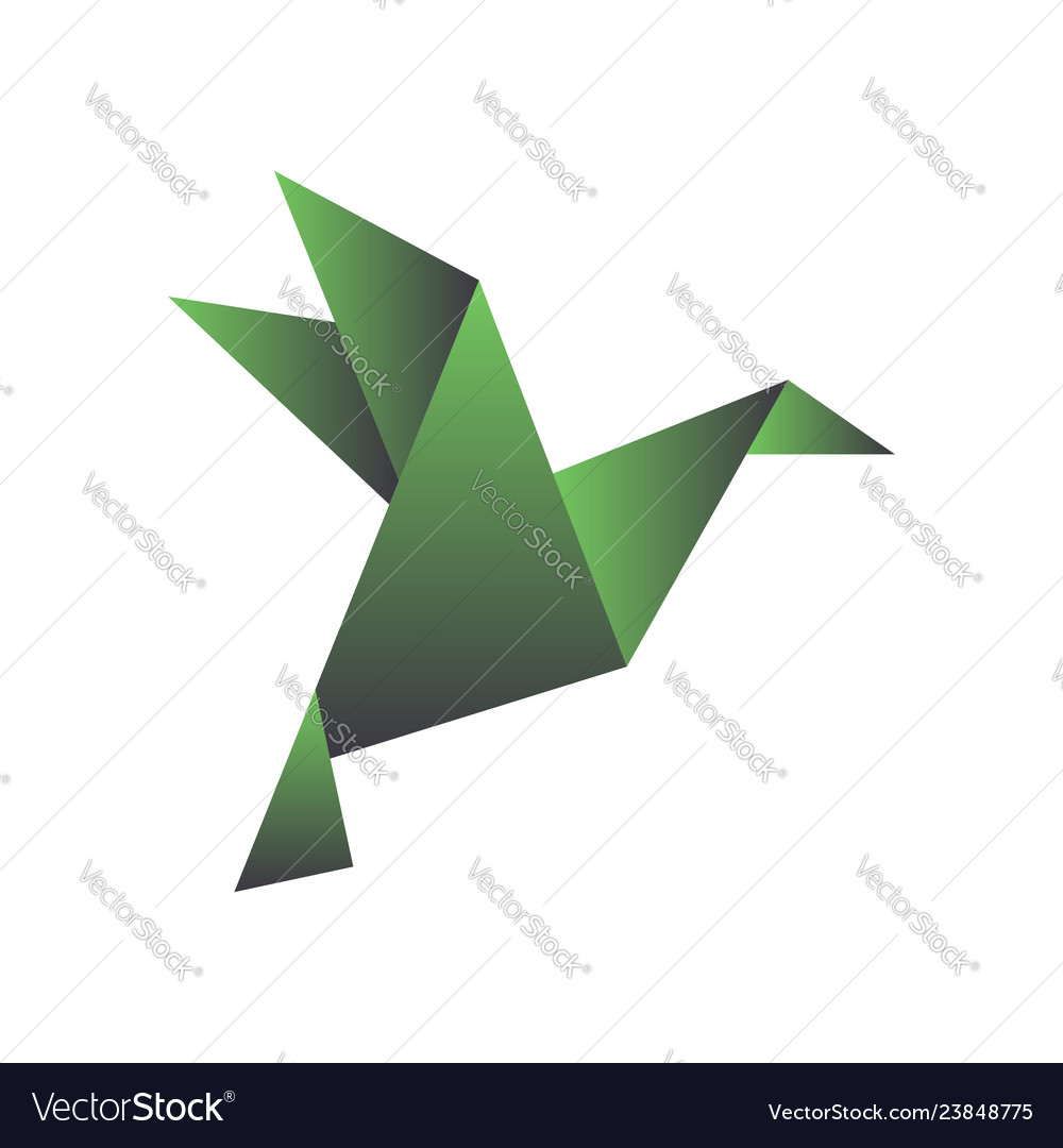Paper bird in origami style