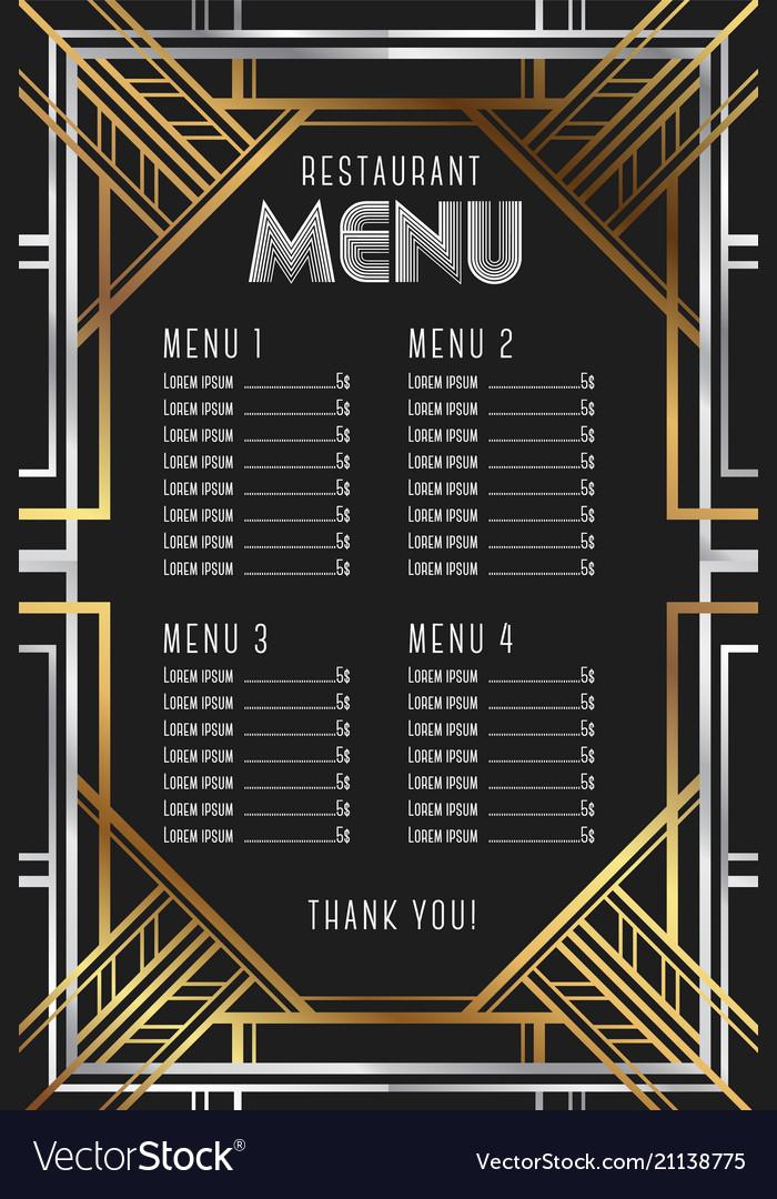 Restaurant menu template luxury vintage artdeco