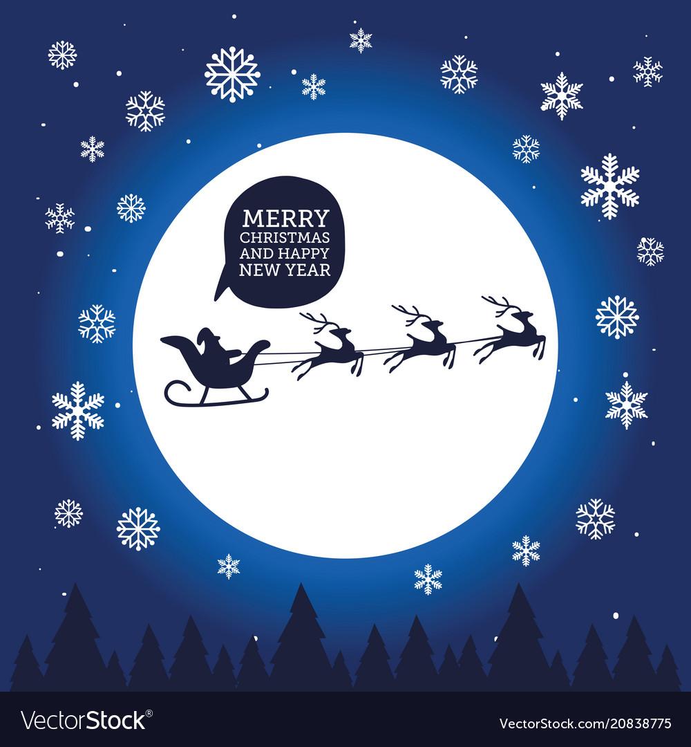 Santa claus in sleigh with reindeer on moon
