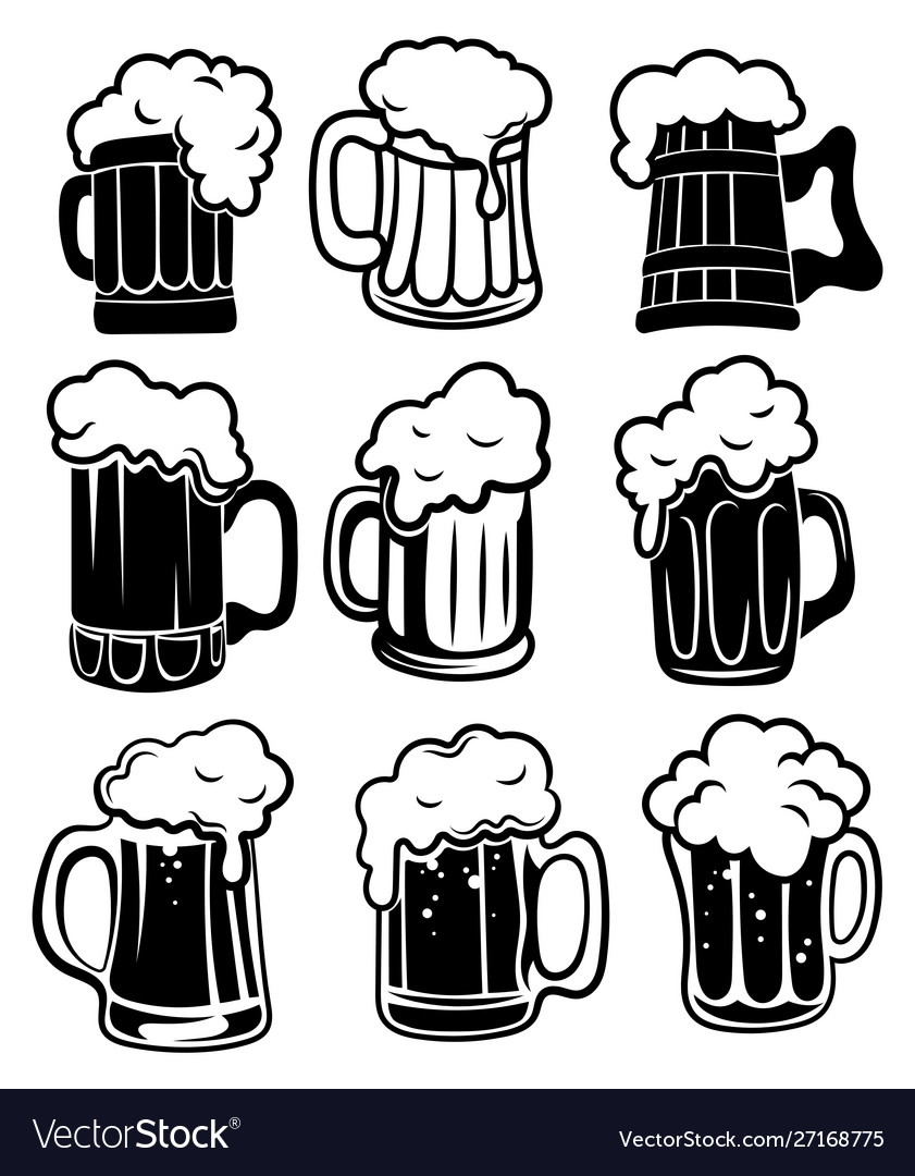 Set glasses with beer a collection stylized