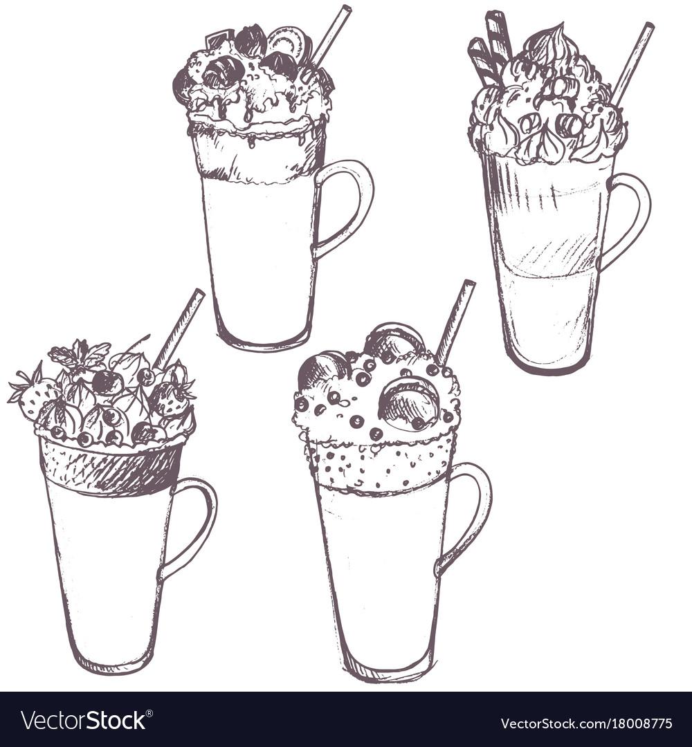 Sketch of milkshakes