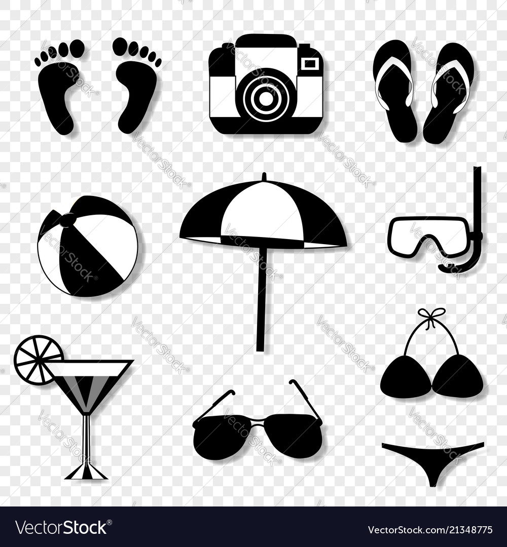 Summer travel beach icon set isolated on