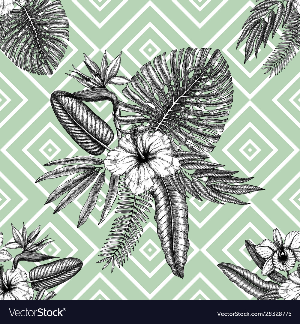 Tropical flowers background seamless pattern
