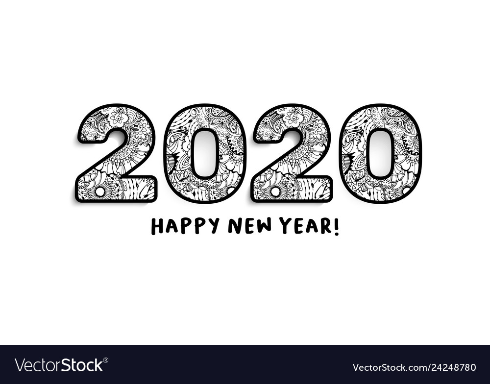 2020 lettering happy new year greeting or for