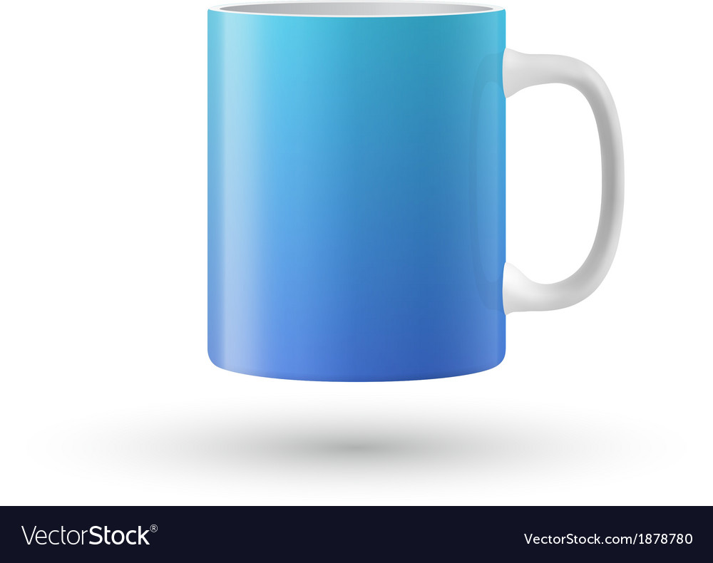 Blue cup isolated on white background vector image