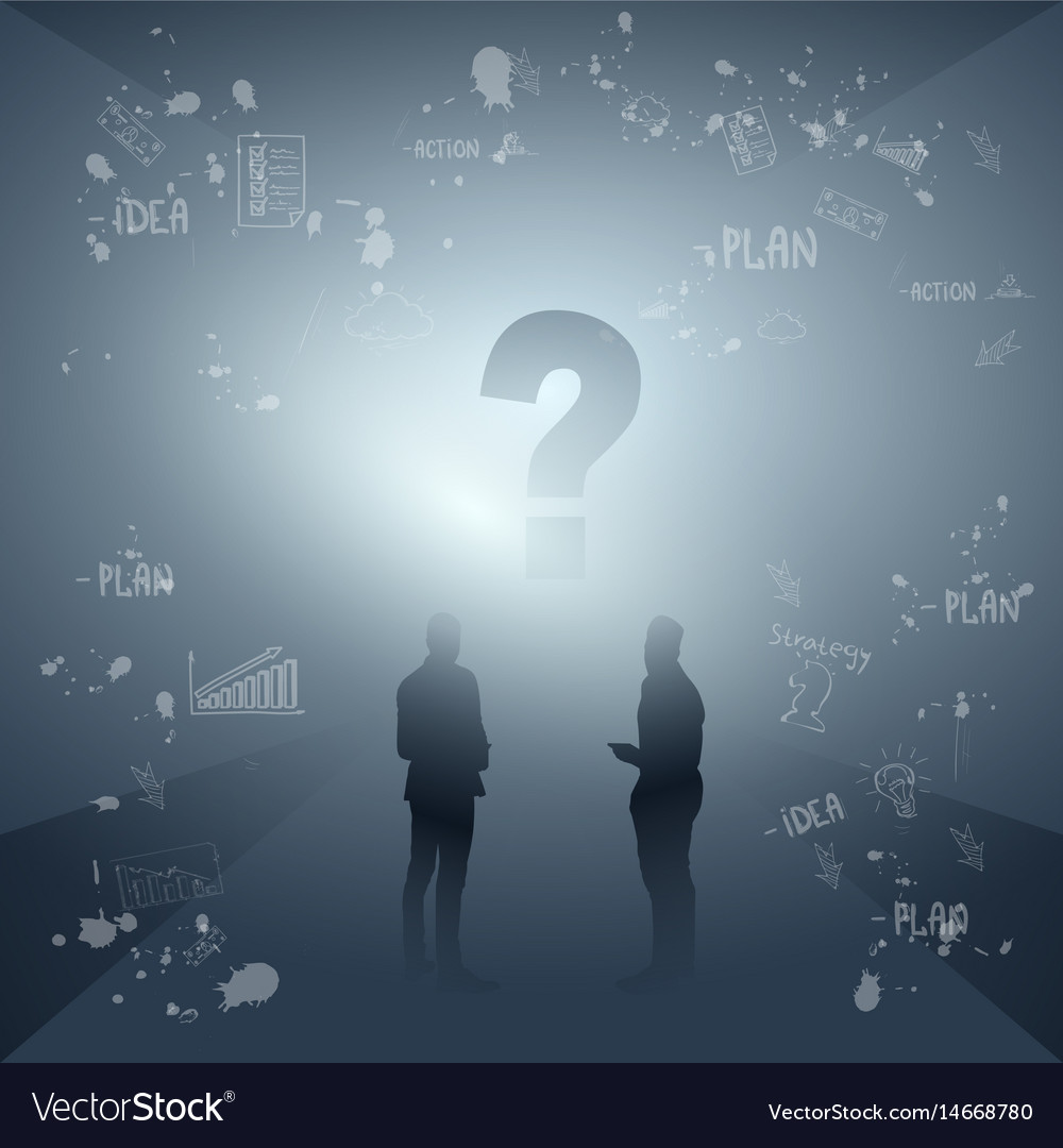 Business people group silhouette ponder vector image