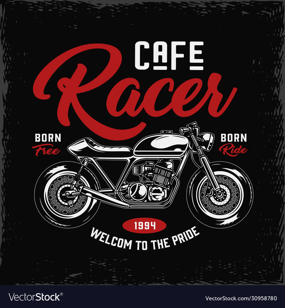 Cafe racer motorcycle label