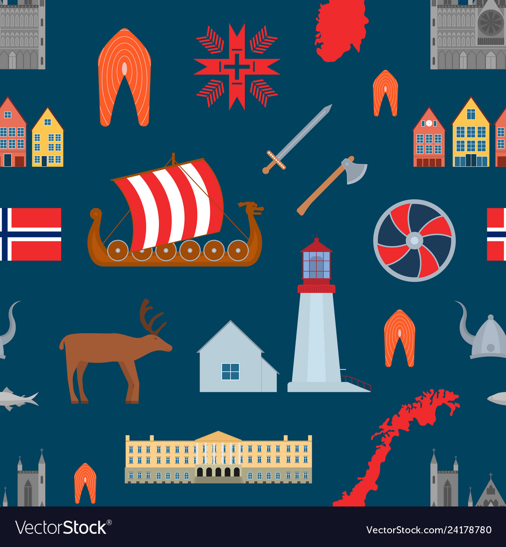 Cartoon norwegian travel and tourism seamless