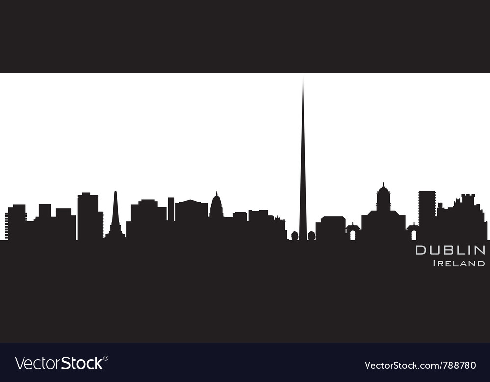 Dublin ireland skyline detailed silhouette