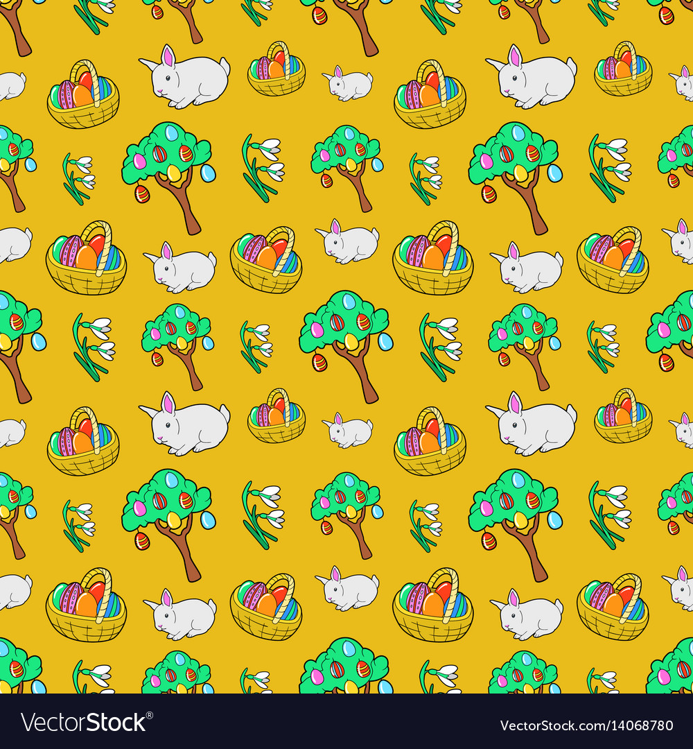 Easter seamless pattern with traditional eggs