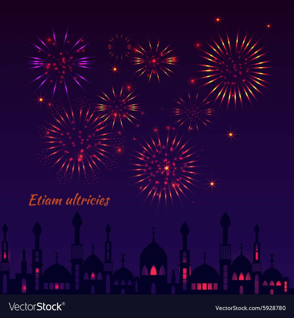 Greeting card with a silhouette of mosques and