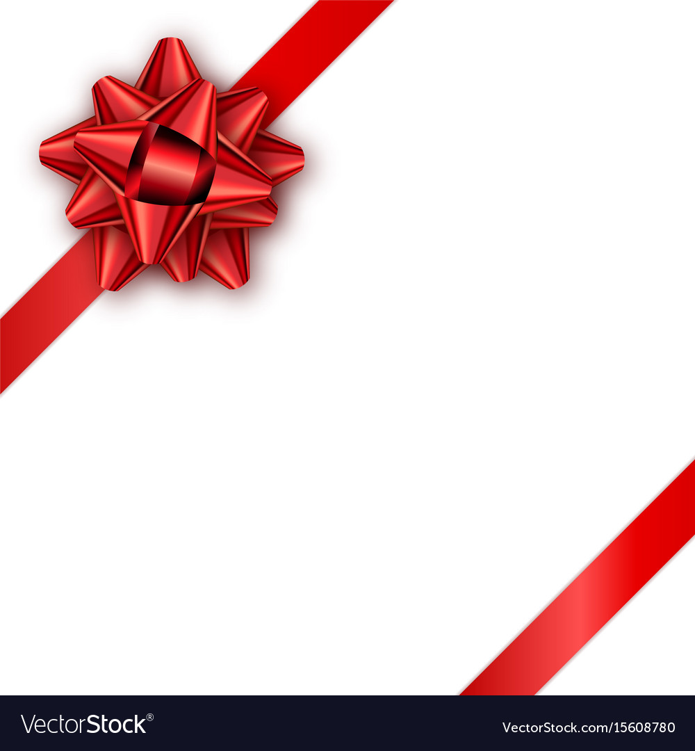 holiday gift card with red ribbon and bow vector image