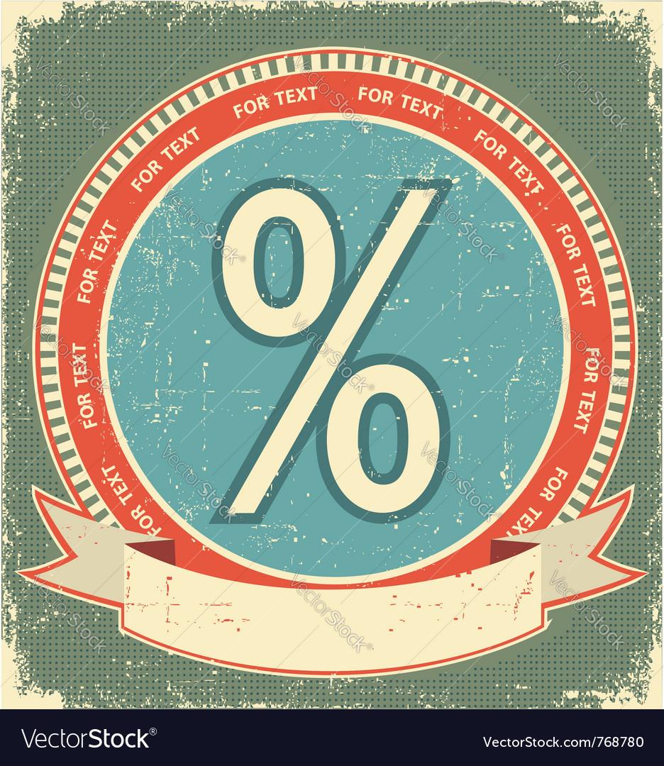 Percentage sign label vector image