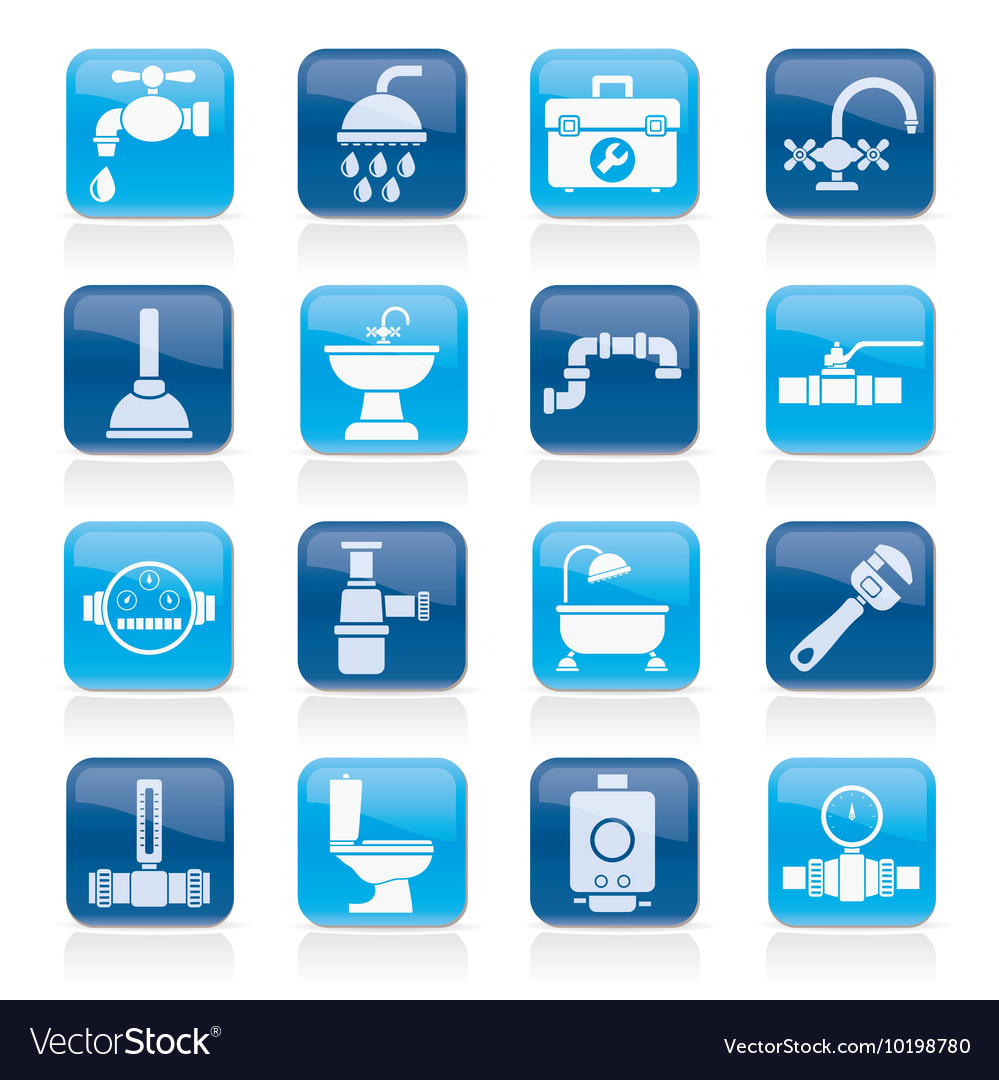 Plumbing objects and tools equipment icons