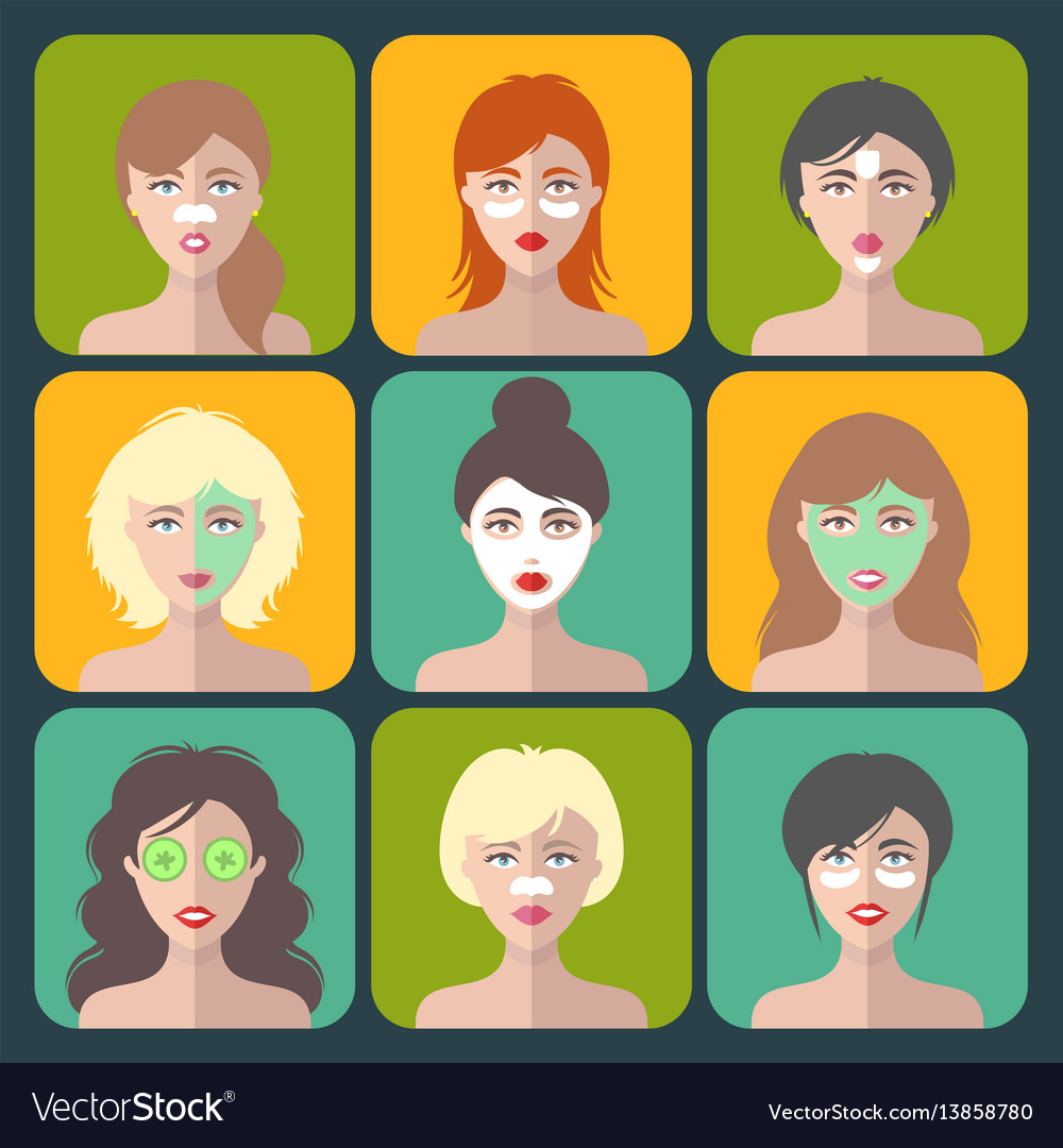 Set of women icons with different cosmetic