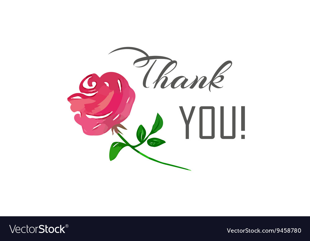 Thank You lettering and a pink rose