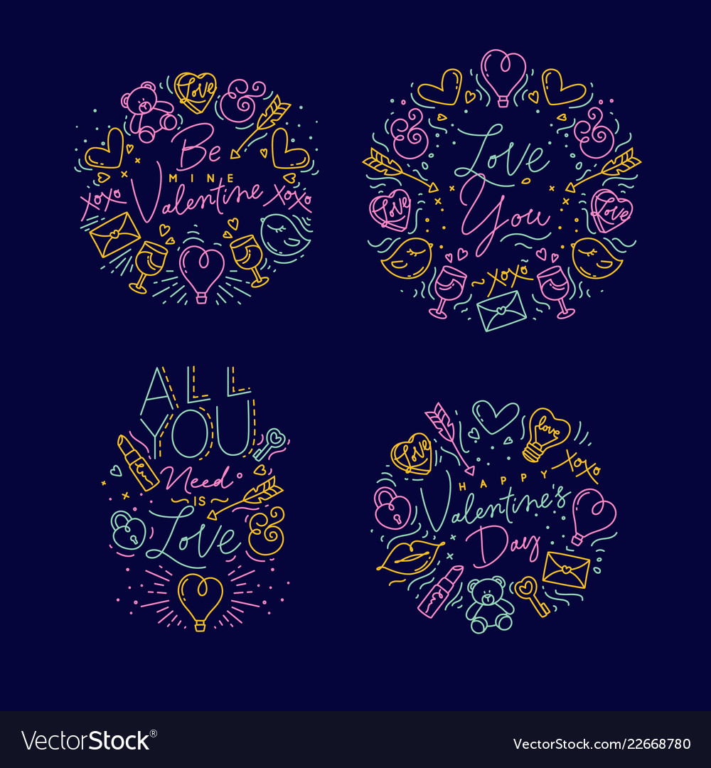 Valentines day flat monograms color