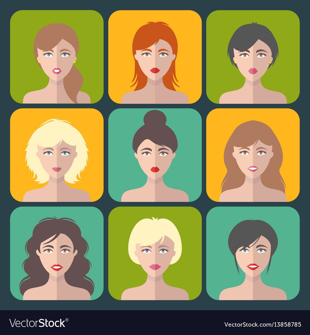 Big set of different women app icons in