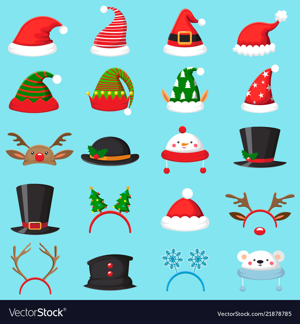 Cartoon christmas hat xmas different hats winter