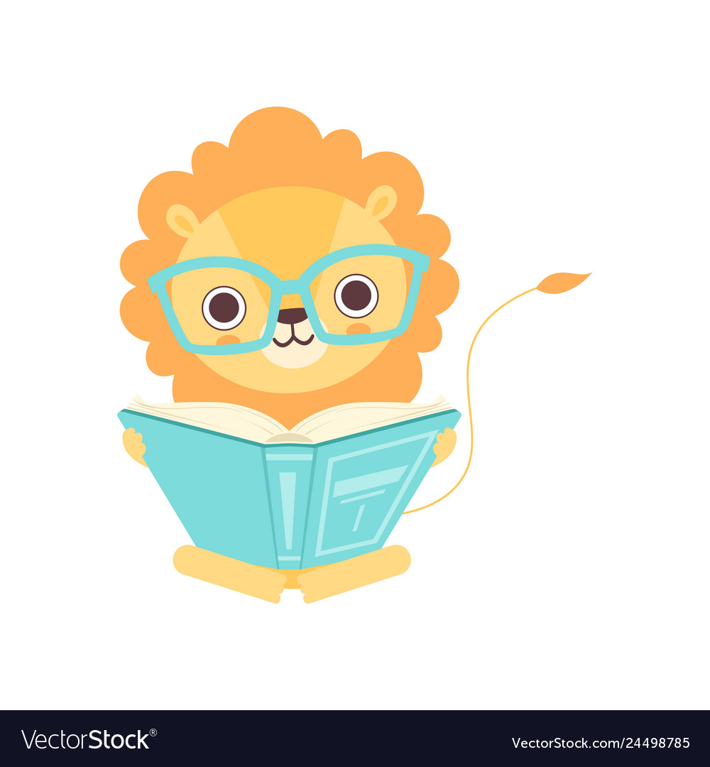 Cute smart lion in glasses reading book funny