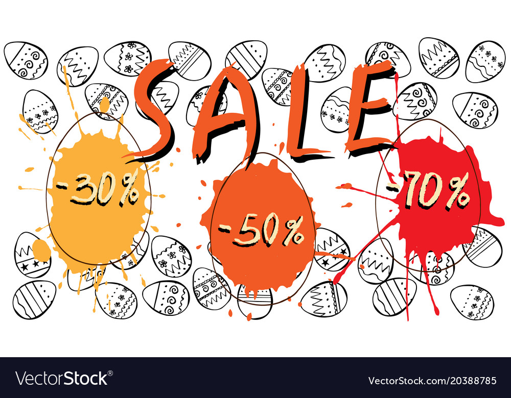 Easter sale background sketch vector image
