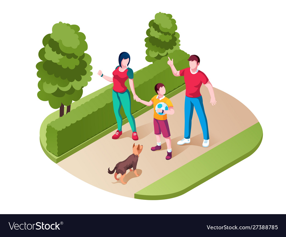 Family walking or strolling at park or nature